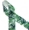 """Palm fronds in shades of green printed on 1.5"""" white grosgrain is the ideal ribbon for hair bows, hat bands, hair bands, quilting and sewing crafts. This is also an ideal ribbon for gift wrap, tropical party decor and home decor. All our ribbon is designed and printed in the USA"""