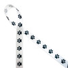 """Paw prints in a row in black and white printed on 7/8"""" white single face satin ribbon is the perfect ribbon for pet gifts, pet gift baskets, pet themed parties and crafts! This is also a great ribbon for tying a gift for the pet sitter, pet groomer or your favorite  Veterinarian! All  our ribbon is designed and printed in the USA"""