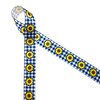 """Yellow sunflowers in a row on a navy blue gingham background printed on 7/8"""" white grosgrain ribbon is the ideal Summer crafting ribbon supply! This is a perfect ribbon for hair bows, head bands, wreath making, gift wrap and party decor. Be sure to have this ribbon on hand for quilting and sewing projects too! All our ribbon is designed and printed in the USA"""