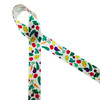 """Colorful veggies include tomatoes, eggplant, carrots, corn and peppers printed on 7/8"""" white single face satin ribbon is a fun ribbon for your  favorite grocer, chef and food delivery person. This is a great ribbon for gift wrap, farmers markets and gift baskets too! All our ribbon is designed and printed in the USA"""