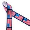 """American Flags line up on a navy blue background printed on 1.5"""" white satin ribbon for the perfect patriotic ribbon! This is an ideal ribbon for 4th of July, Memorial Day and Veterans Day. Use this ribbon for hair bows, wreaths, party decor and gift wrap for the biggest Summer holiday! All our ribbon is designed and printed in the USA"""