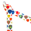 """Colorful hot air balloons drift away on 1.5"""" white grosgrain ribbon! This is an ideal ribbon for birthday parties, party decor, hair bows, head bands and quilting projects. Be sure to have this fun ribbon on hand for all your crafting needs! Our ribbon is designed and printed in the USA"""