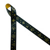 """Witchcraft themed ribbon with crystal balls, cards, starts, moons and mystical symbols on a black background printed on 7/8"""" dijon gold single face satin ribbon is a great ribbon for anyone interested in mysticism. This is a great ribbon for Halloween, party decor, wizard parties, magic parties, gift wrap, and crafts. This is a fun ribbon for hair bows, fascinators and head bands too. All our ribbon is designed and printed in the USA"""