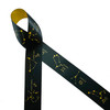"""Constellations featuring the twelve zodiac formations on a black background printed on 1.5"""" dijon gold single face satin ribbon. This bespoke ribbon is ideal for astrology enthusiasts, zodiac themed parties, celestial themed parties, gift wrap, party decor, quilting and crafts. All our ribbon is designed and printed in the USA"""