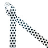 """Black polka dots printed on 7/8"""" white single face satin is a classic pattern for so many occasions! This is a great ribbon for 50th birthday parties, 50's throwback parties, gift wrap, party decor and party favors. Use this ribbon for sewing, quilting and craft projects too! All our ribbon is designed and printed in the USA"""