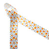 """Candy corn in traditional orange, yellow and white tossed with black polka dots printed on 1.5"""" white single face satin is a Halloween staple! This is a fun ribbon for Halloween decor, gift wrap, Halloween wreaths, hair bows, head bands and hat bands. Use this ribbon for quilting, sewing and craft projects too! All our ribbon is designed and printed in the USA"""