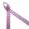 """Stripes of lavender, pink and black on 7/8"""" white single face satin ribbon is fun for a whimsical Halloween celebration. This is a great ribbon for headbands, hair bows, gift wrap, party decor and candy shops. Use this ribbon for costumes, fascinators, quilting and sewing projects too. All our ribbon is designed and printed in the USA"""