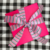 Our pink, lavender and black stripes make a beautiful bow for a Halloween gift or gift wrap at any other time of year!