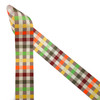 """Fall plaid ribbon in brown, orange, red, green and yellow printed on 1.5"""" white grosgrain ribbon is an ideal ribbon for Fall wreaths and decor! Use this ribbon for hair bows, head bands, hat bands and gift wrap! This traditional pattern is perfect for all your Fall gift baskets, quilting, sewing and craft projects too! All our ribbon is designed and printed in the USA"""