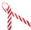 """Candy cane stripe ribbon in red and white printed on 7/8"""" white single face satin is a Christmas classic. This is a great ribbon for gift wrap, party decor, gift baskets, cookies, cake pops, crafts, sewing and quilting projects. Be sure to have this ribbon on hand all season long! All our ribbon is designed and printed in the USA"""