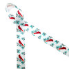 """Red cardinals on a winter berry branch of red and green printed on 7/8"""" white single face satin ribbon is an ideal ribbon for Winter and Holiday gift wrap. This beautiful ribbon reflects the nature of Winter and is perfect for gift baskets, party decor, party favors and Holiday crafting. All our ribbon is designed and printed in the USA"""