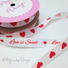 """Hearts in a Row Ribbon Red on 5/8"""" white single face satin ribbon, 10 Yards"""