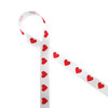 """Red hearts on white 5/8"""" single face satin ribbon"""