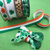 "Shamrocks in a Row Ribbon 7/8"" White Satin 10 Yards"