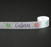 "Galletas with Sugar Cookies Ribbon on 7/8"" White Single Face Satin, 10 Yards"