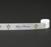 "Felices Pascuas on 7/8"" white single face satin ribbon, 10 Yards"