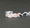 """Got Cookies? Ribbon with Black and White Cow Pattern on 7/8"""" White Single Face Satin Ribbon 10 Yards"""