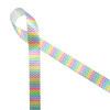 "Micro Mini Chevron in Pastel on 5/8"" white single face satin ribbon"