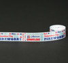"Fourth of July Word Block on 7/8"" white single face satin ribbon"
