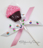 """Cupcakes in a Row Ribbon on White 5/8"""" Single Face Satin Ribbon, 10 Yards"""