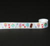 "Ice Cream novelties in a row on white 7/8"" Single Face Satin Ribbon, 10 Yards"