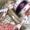 """Lobsters are available in 5/8"""" on white and 7/8"""" on a navy blue background! These two sizes are perfect for Summer clam bakes and lobster boils!"""