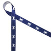 "White crabs on a navy background on White 5/8"" single face satin ribbon"