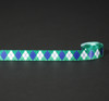 "Blue and green argyle on white 5/8"" single face satin ribbon."