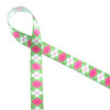 "Pink and green argyle on 5/8"" white single face satin is the epitome of prep! We created this for Mom or women's golf. Designed and printed in the USA"