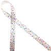 "Sprinkles on 5/8"" single face satin ribbon."