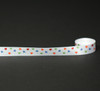 """Hearts Ribbon in Primary Colors tossed on White 5/8"""" Single Face Satin Ribbon, 10 Yards"""