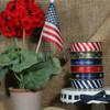 "United States Navy Logo Ribbon on a Blue Background 5/8"" Single Face Satin, 10 Yards"