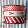 Our Red and White collection includes this wonderful Summer theme with lobsters, stripes and gingham checks. Make your Summer party so much fun by tying favors with any of these ribbons! Designed and printed in the USA