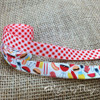 "Gingham Check Ribbon in red and white on 5/8"" White Single Face Satin Ribbon, 10 Yards"