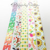 "Sunflowers with green pin dots Ribbon on 5/8"" white Single Face Satin, 10 Yards"