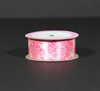 "Damask print in hot pink  on Light pink 1.5"" Single Face Satin Ribbon, 10 Yards"