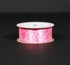 "Swirls of hot pink  on Lt Pink 1.5"" Single Face Satin ribbon, 10 Yards"