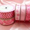 "Hot Pink Chevron Ribbon on 1.5"" Light Pink Single Face Satin Ribbon, 10 Yards"