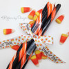 "Trick or Treat Ribbon with candy corn on 5/8"" white single face satin ribbon, 10 Yards"