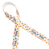 """Trick or Treat with candy corn on 5/8"""" white single face satin ribbon, 10 Yards"""