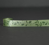 "Holly in green on 7/8"" Willow green single face satin ribbon, 10 Yards"