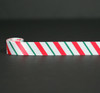 "Christmas Ribbon Candy Cane Stripes in Red and Green on 7/8"" White Single Face Satin ribbon, 10 Yards"