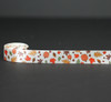 "Fall Leaves and pumpkins on 7/8"" Antique white single face satin ribbon"