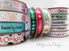 """Christmas Cookies Ribbon in white on Green 5/8"""" Single Face Satin Ribbon, 10 Yards"""