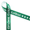 """Christmas Cookies in white on green ribbon with hearts, trees and stars on 5/8"""" single face satin ribbon in 10 yard spools."""