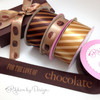 "Chocolate Stripes Ribbon on  1.5"" Brown Single Face Satin ribbon, 10 Yards"