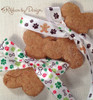 """Holiday Dog Bones Ribbon with green and red paw prints on 5/8"""" white Single Face Satin ribbon, 10 yards"""