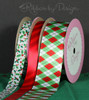 "Christmas Argyle Ribbon in red and green on  1.5"" White Single Face Satin Ribbon, 10 Yards"