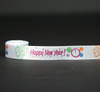 "Happy New Year with a clock and balloons on 7/8"" white single face satin ribbon, 10 Yards"