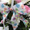 "Jelly Beans Ribbon in pastel colors on 5/8"" White Single Face Satin ribbon, 10 Yards"